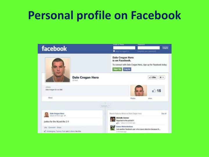 Personal profile on facebook