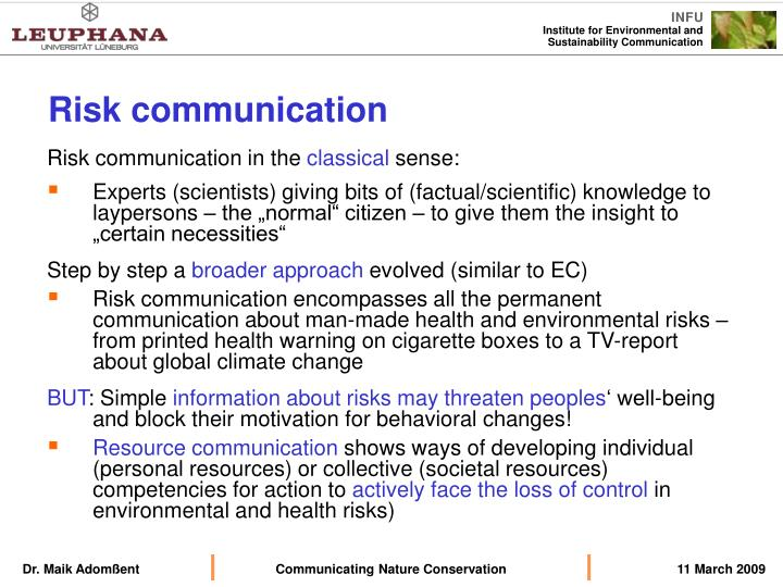 Risk communication in the