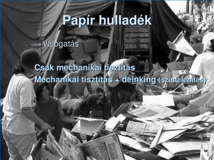 Papír hulladék