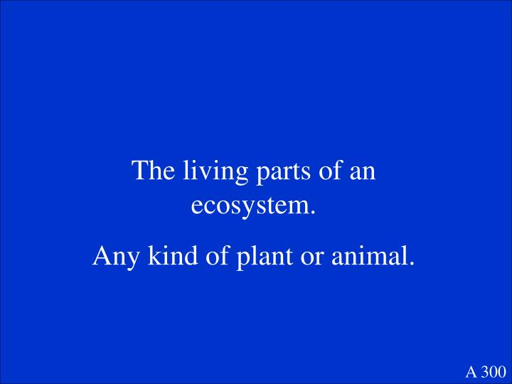 The living parts of an ecosystem.
