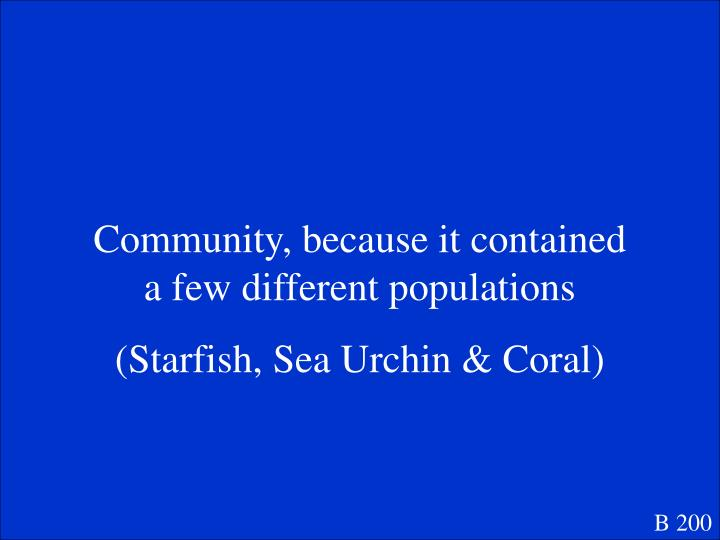 Community, because it contained a few different populations