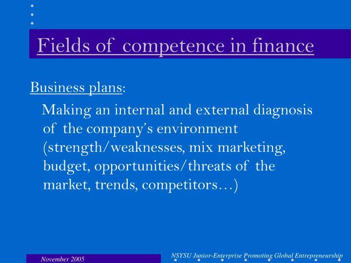 Fields of competence in finance