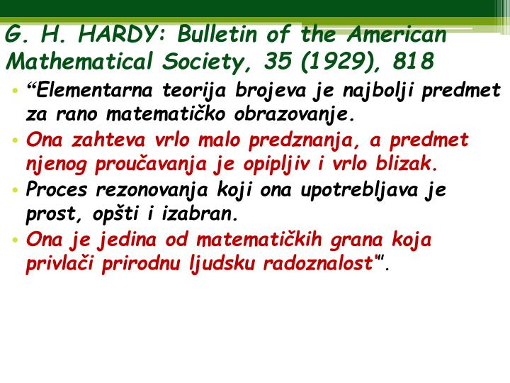 G. H. HARDY: Bulletin of the American Mathematical Society, 35 (1929), 818