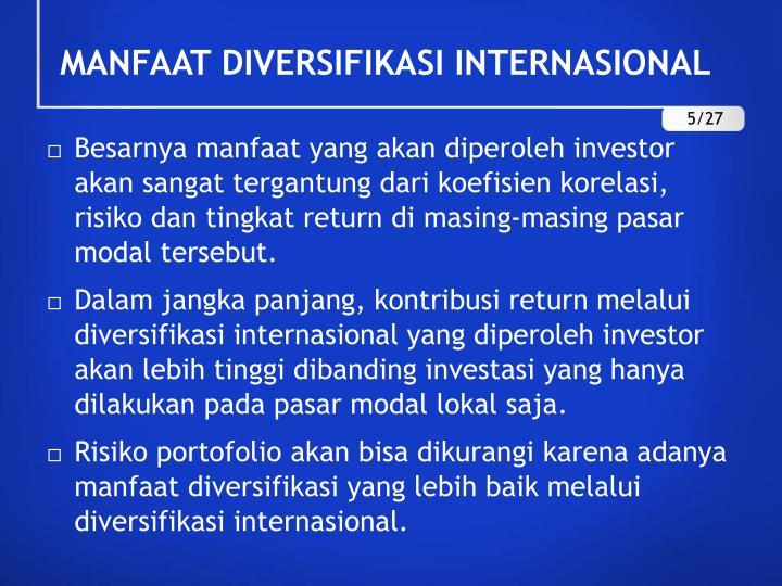 MANFAAT DIVERSIFIKASI INTERNASIONAL