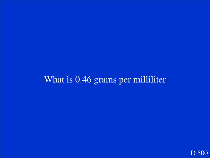 What is 0.46 grams per milliliter