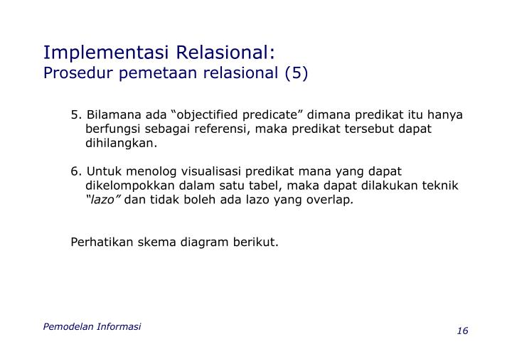 Implementasi Relasional: