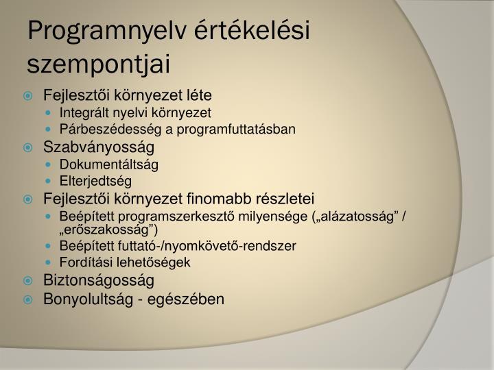 Programnyelv értékelési szempontjai