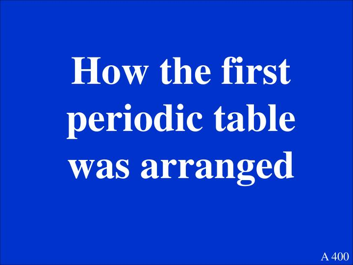 How the first periodic table was arranged