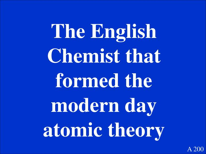 The English Chemist that formed the modern day atomic theory