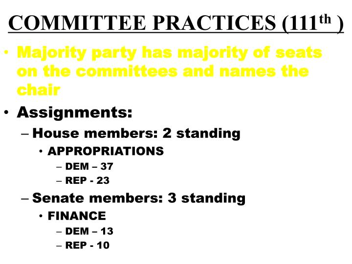 COMMITTEE PRACTICES (111