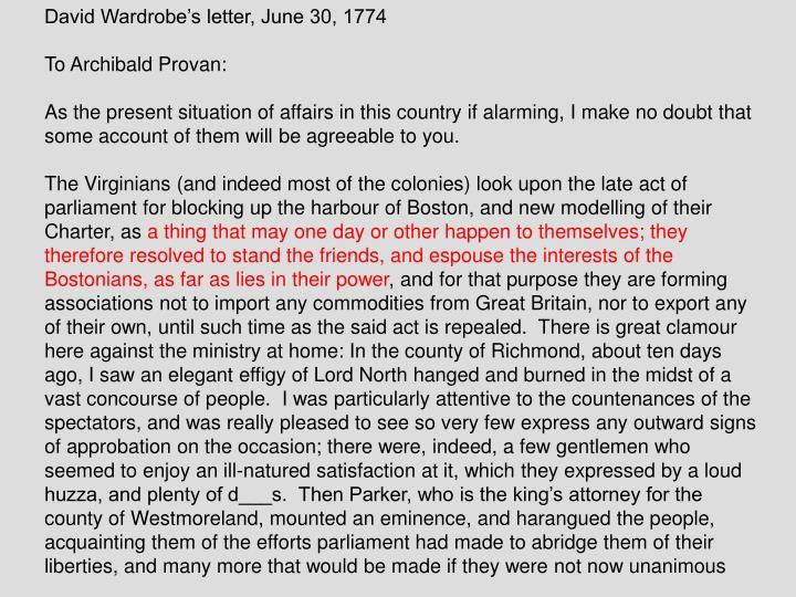 David Wardrobe's letter, June 30, 1774