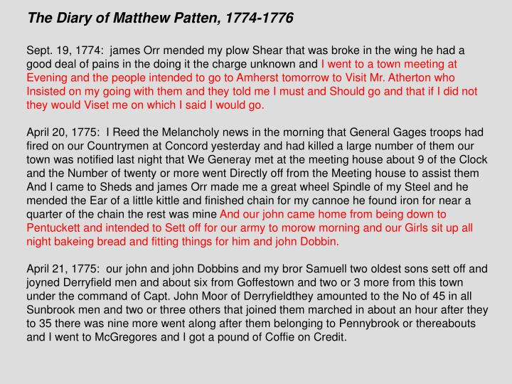 The Diary of Matthew Patten, 1774-1776