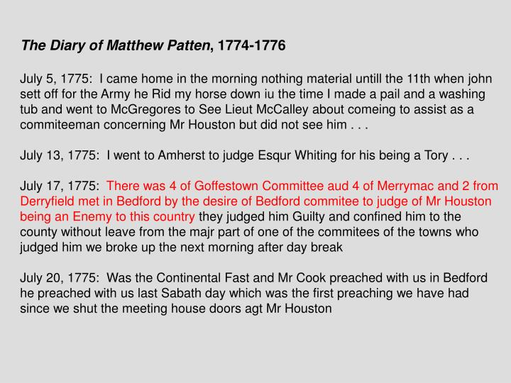 The Diary of Matthew Patten