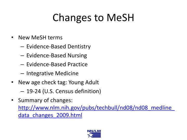 Changes to MeSH