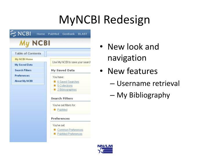 MyNCBI Redesign