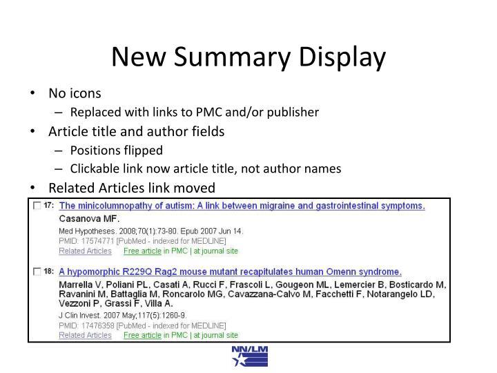 New Summary Display