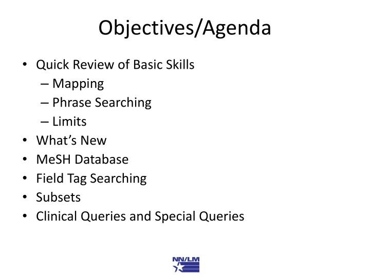 Objectives agenda