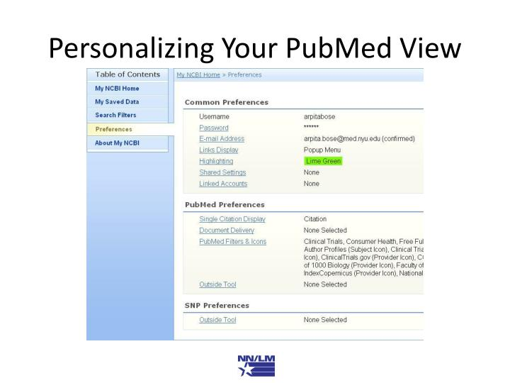 Personalizing Your PubMed View