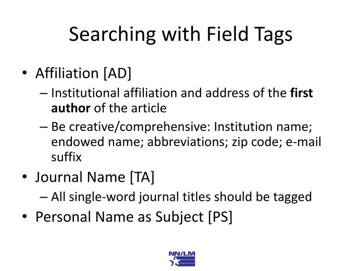 Searching with Field Tags