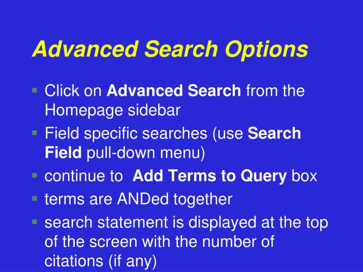 Advanced Search Options