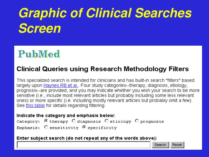 Graphic of Clinical Searches Screen