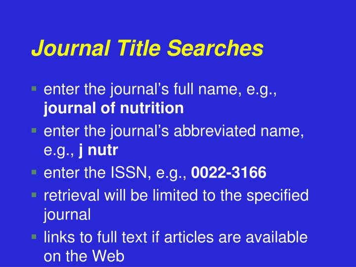 Journal Title Searches