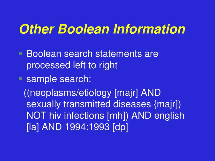 Other Boolean Information