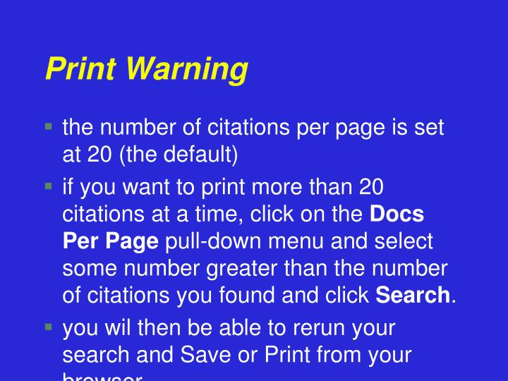 Print Warning