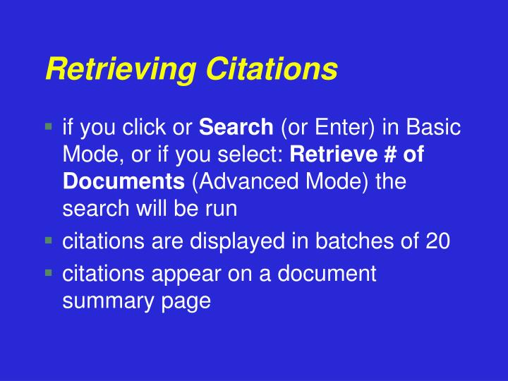 Retrieving Citations