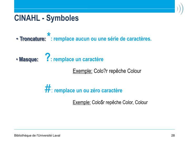 CINAHL - Symboles