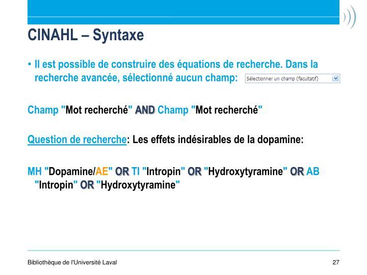 CINAHL – Syntaxe