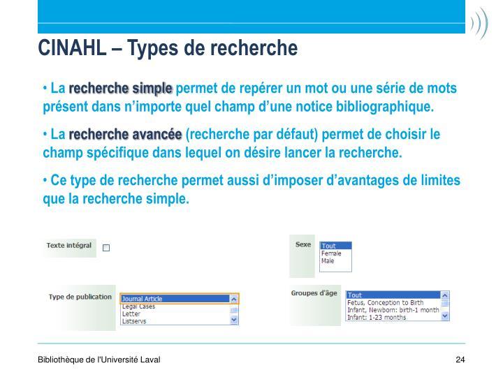 CINAHL – Types de recherche