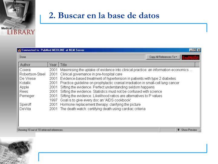 2. Buscar en la base de datos