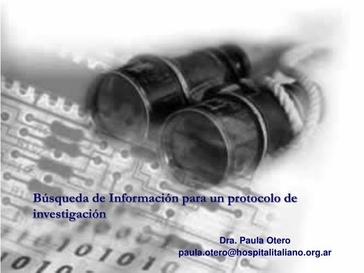Búsqueda de Información para un protocolo de investigación