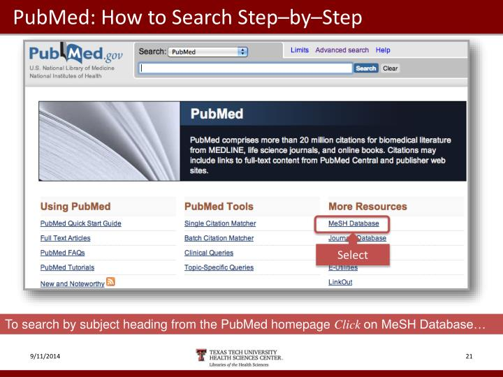 PubMed: How to Search Step–by–Step