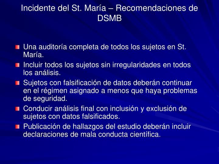 Incidente del St. María – Recomendaciones de DSMB
