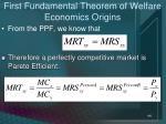 first fundamental theorem of welfare economics origins