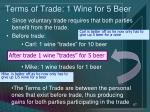 terms of trade 1 wine for 5 beer