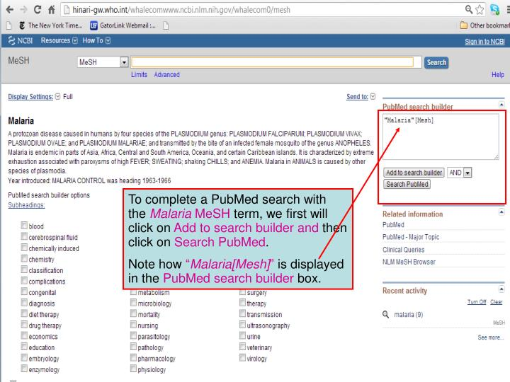 To complete a PubMed search with the