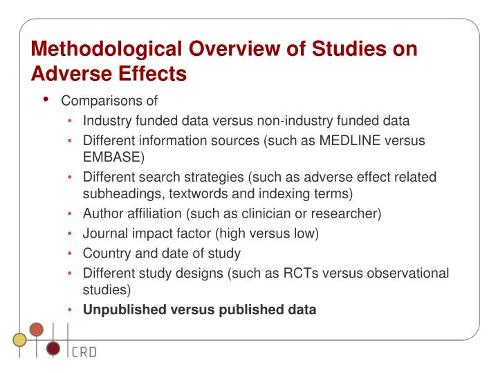 Methodological Overview of Studies on Adverse Effects