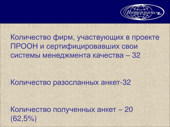 Количество фирм, участвующих в проекте ПРООН и сертифицировавших свои системы менеджмента качества – 32
