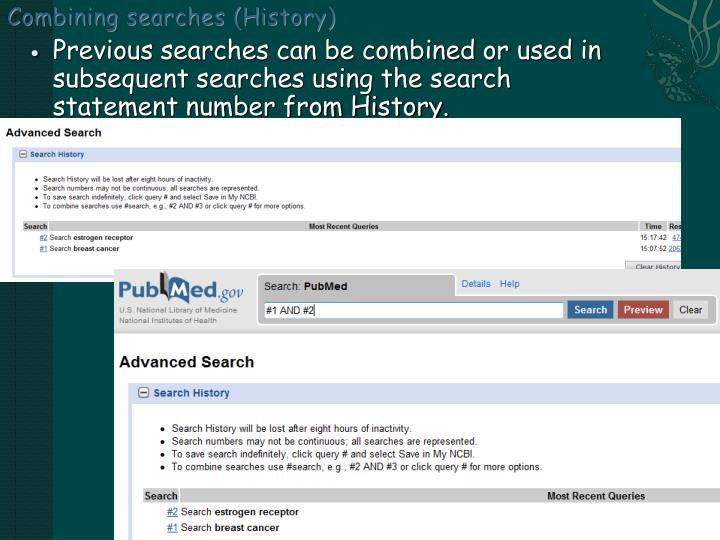 Combining searches (History)
