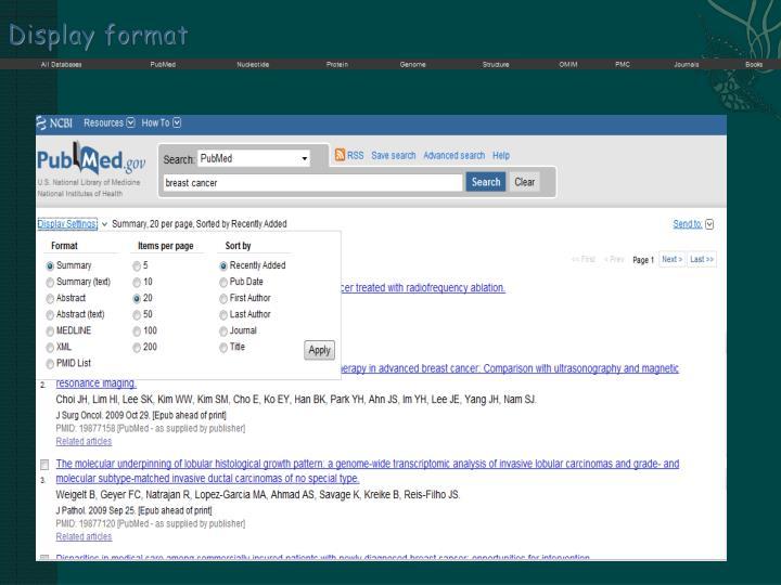 Display format