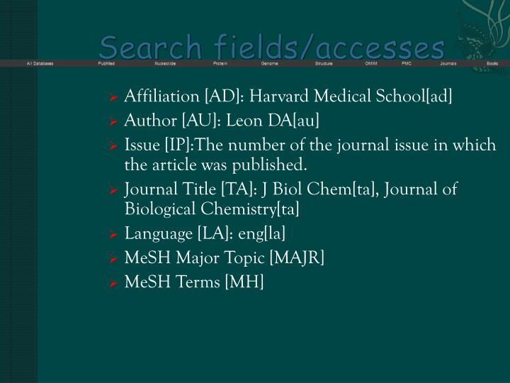 Search fields accesses