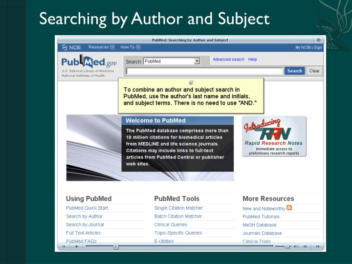 Searching by Author and Subject