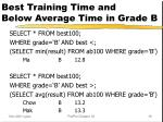 best training time and below average time in grade b