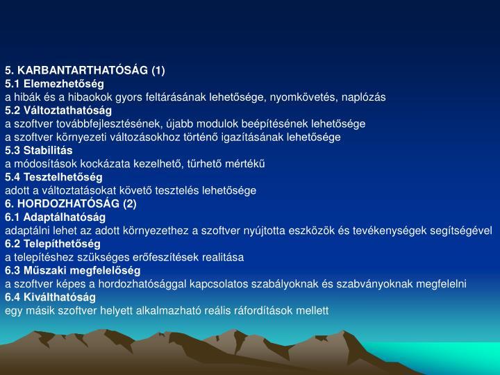 5. KARBANTARTHATÓSÁG (1)
