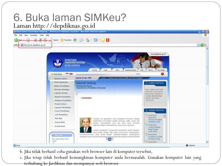 6. Buka laman SIMKeu?