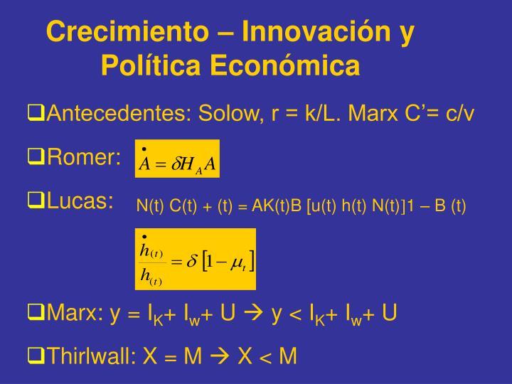 Crecimiento – Innovación y Política Económica