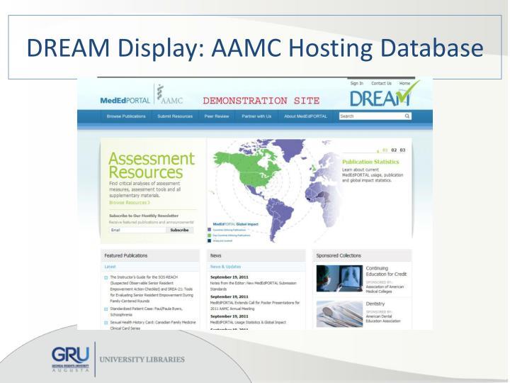 DREAM Display: AAMC Hosting Database